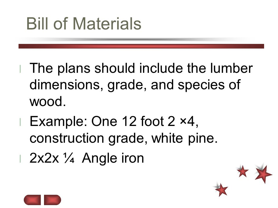 Bill of Materials The plans should include the lumber dimensions, grade, and species of wood.