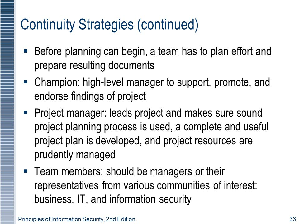 Continuity Strategies (continued)