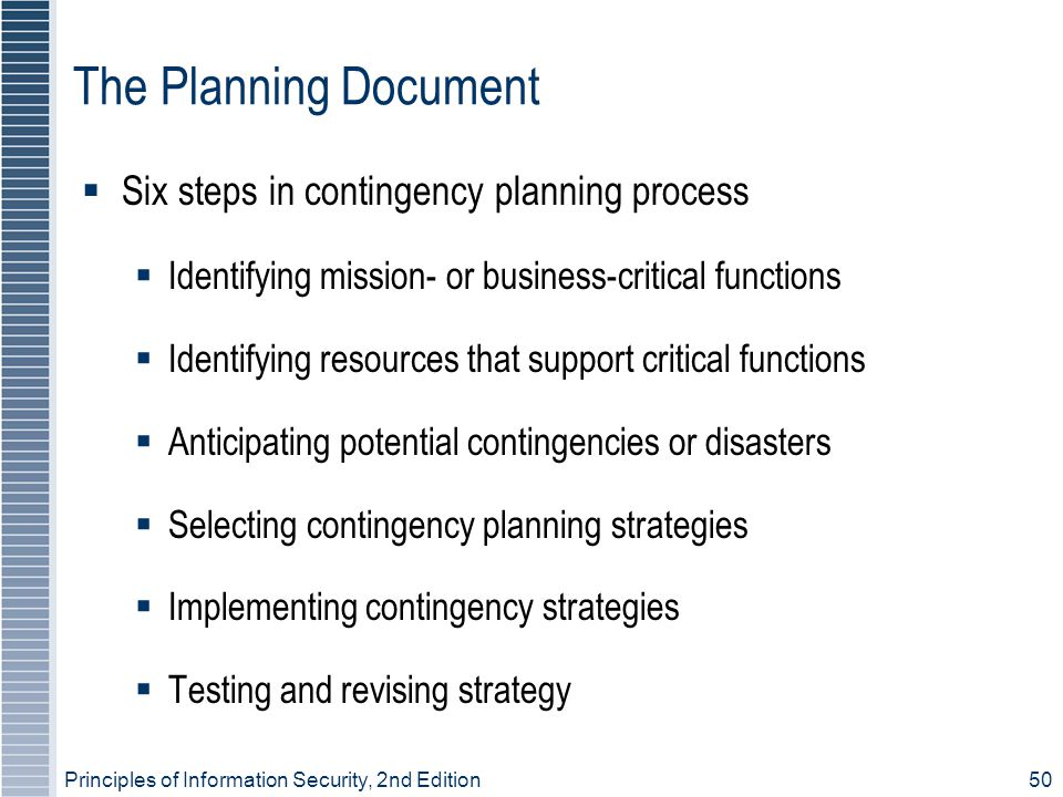 The Planning Document Six steps in contingency planning process