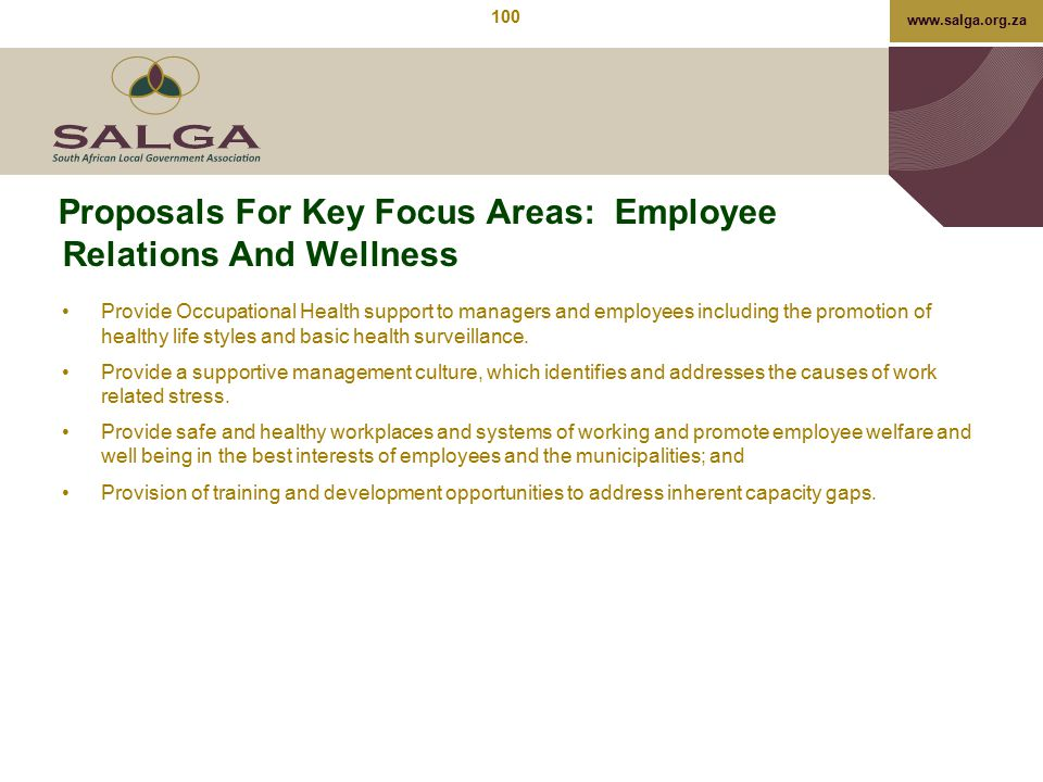 Proposals For Key Focus Areas: Employee Relations And Wellness