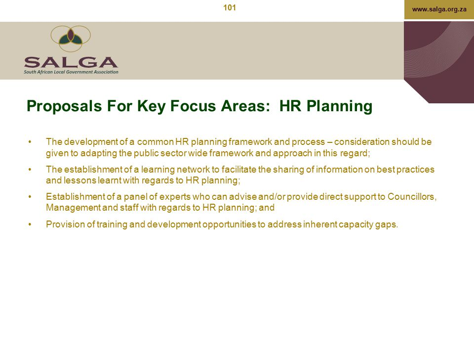 Proposals For Key Focus Areas: HR Planning