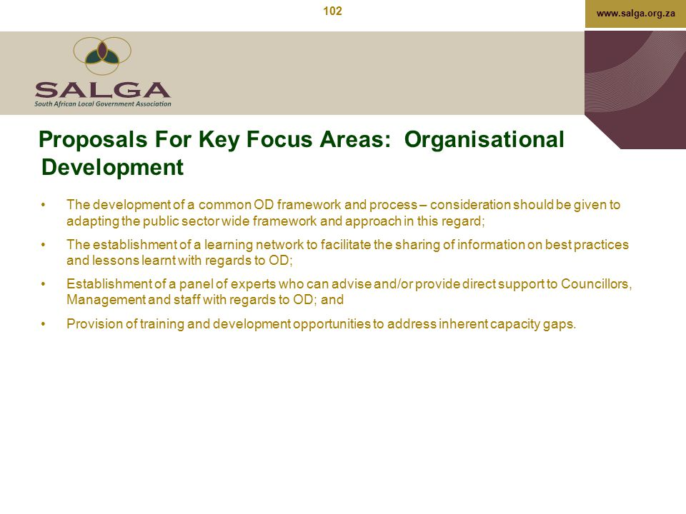 Proposals For Key Focus Areas: Organisational Development