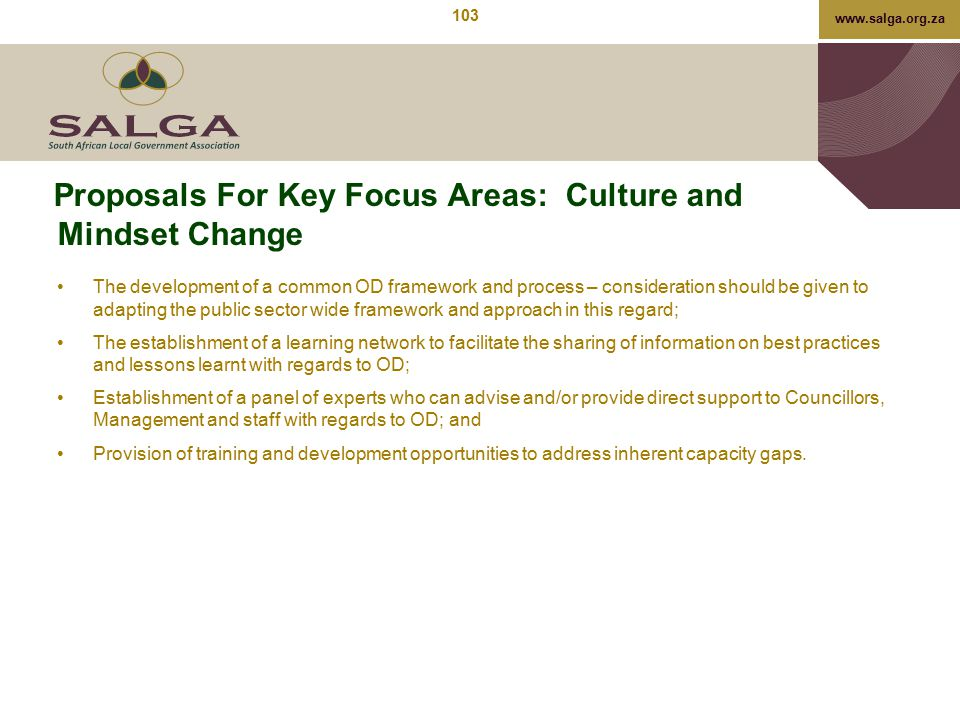 Proposals For Key Focus Areas: Culture and Mindset Change