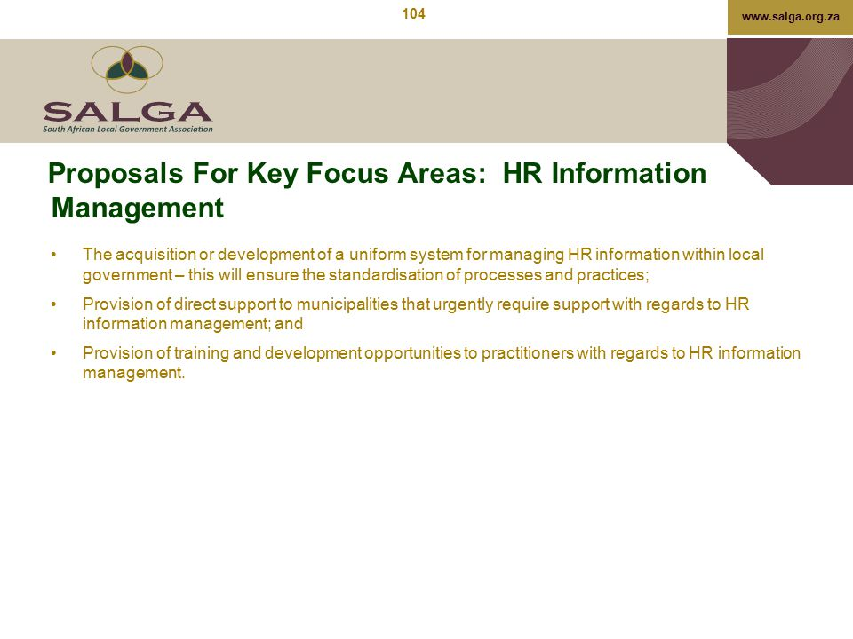 Proposals For Key Focus Areas: HR Information Management
