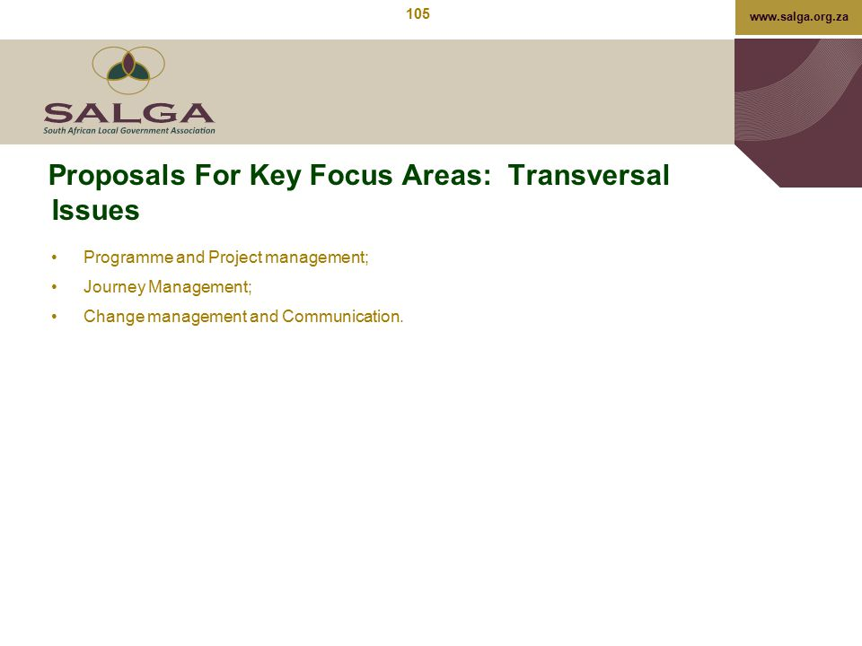 Proposals For Key Focus Areas: Transversal Issues