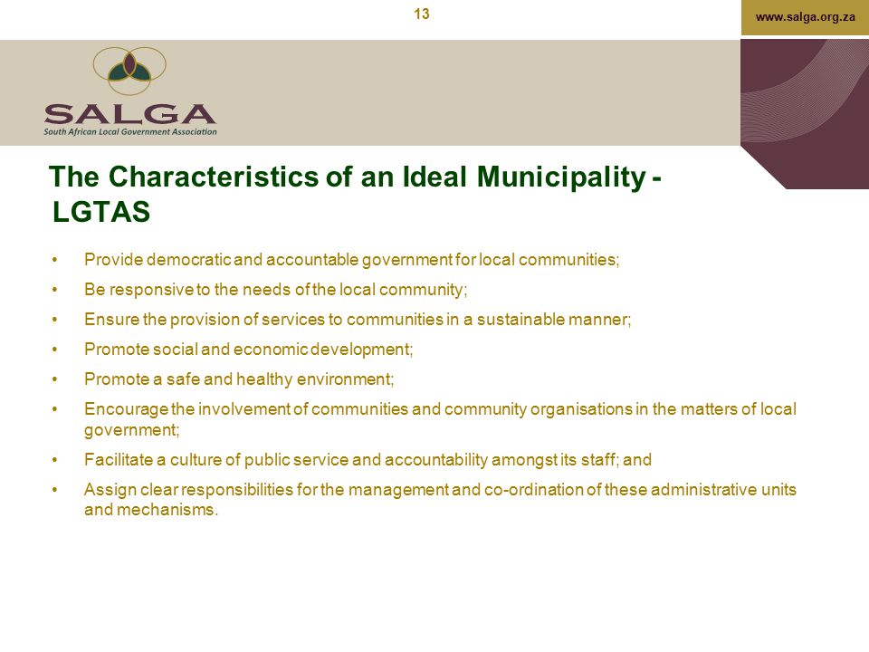 The Characteristics of an Ideal Municipality - LGTAS