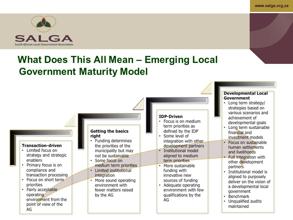What Does This All Mean – Emerging Local Government Maturity Model