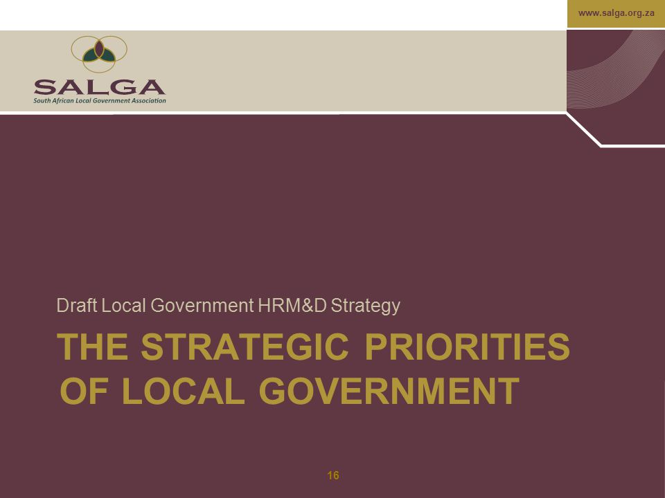 THE STRATEGIC PRIORITIES OF LOCAL GOVERNMENT