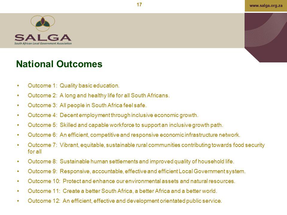 National Outcomes Outcome 1: Quality basic education.