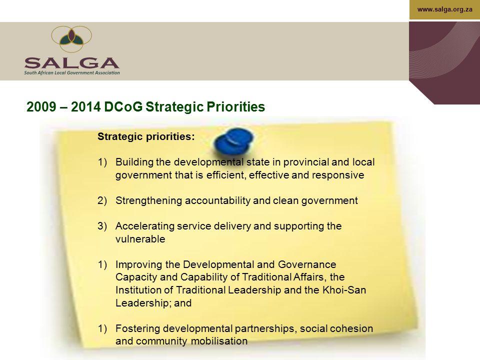 2009 – 2014 DCoG Strategic Priorities