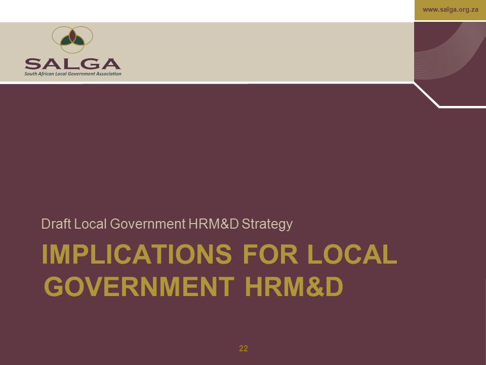 IMPLICATIONS FOR LOCAL GOVERNMENT HRM&D