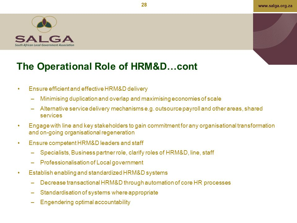 The Operational Role of HRM&D…cont
