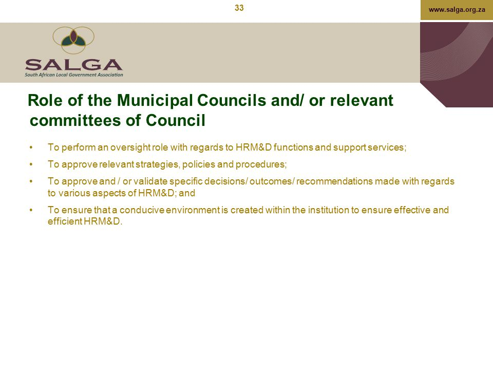 Role of the Municipal Councils and/ or relevant committees of Council