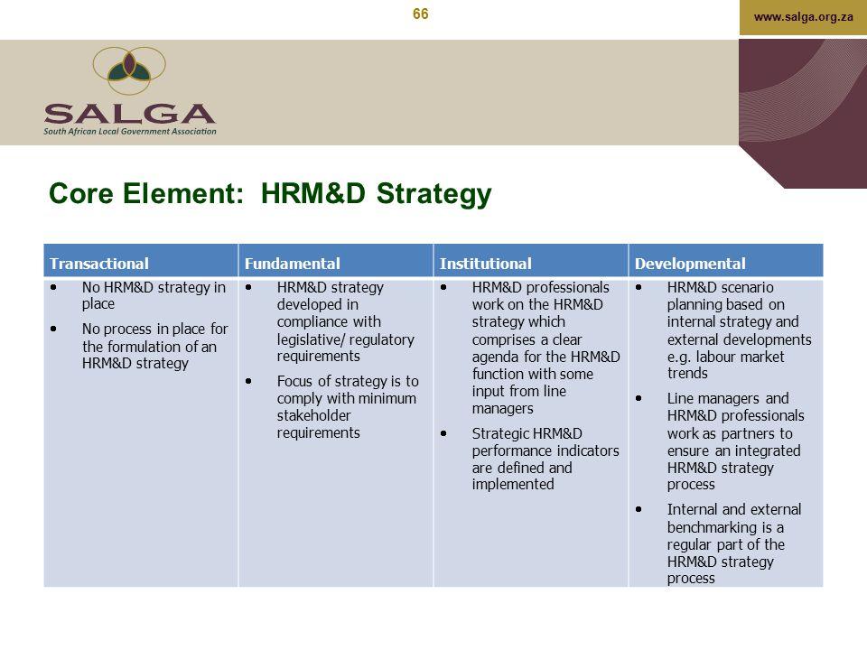 Core Element: HRM&D Strategy