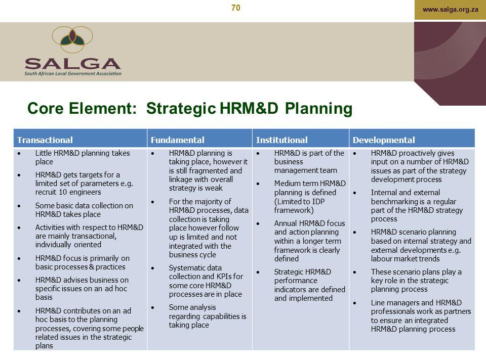 Core Element: Strategic HRM&D Planning