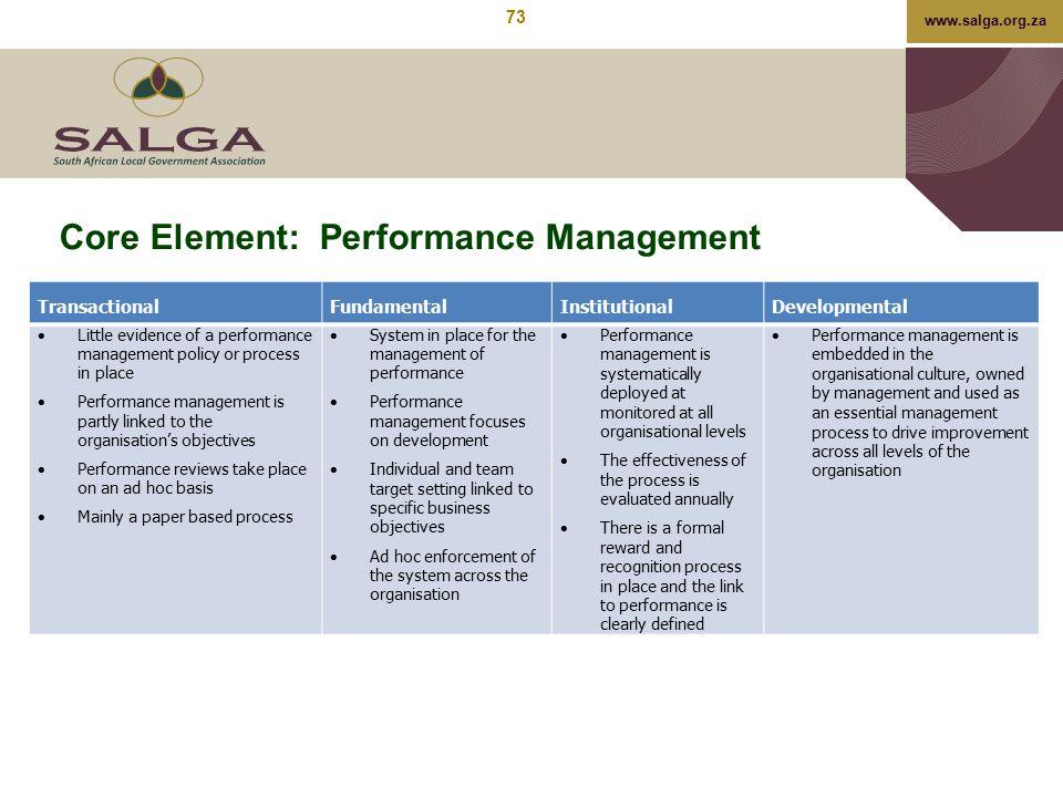 Core Element: Performance Management
