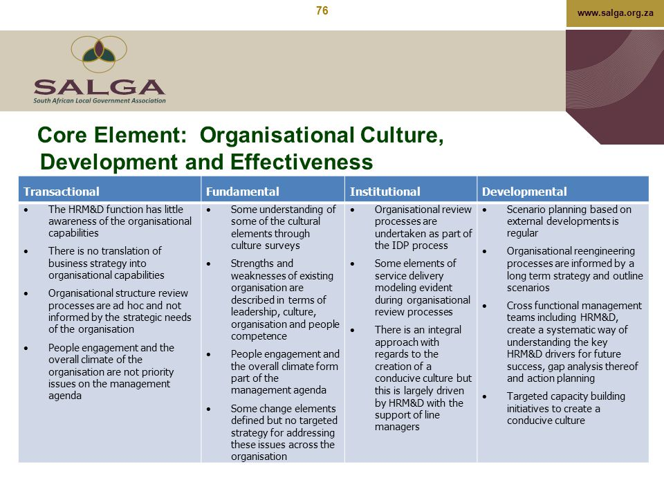 Core Element: Organisational Culture, Development and Effectiveness
