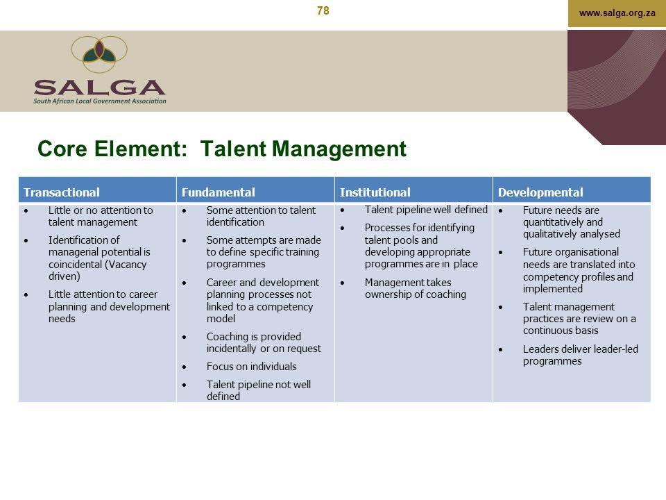 Core Element: Talent Management