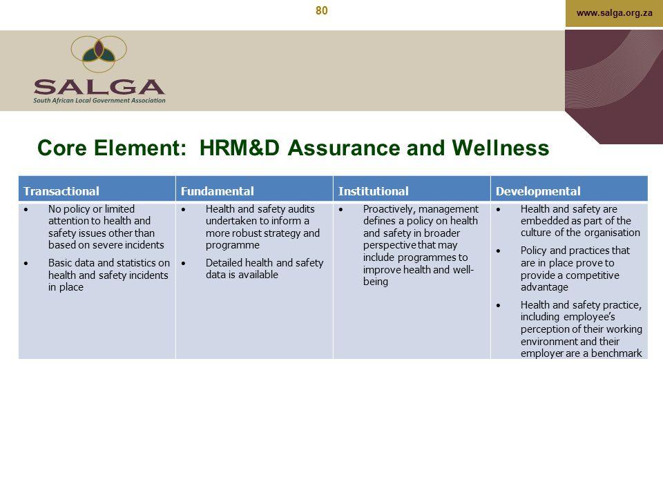 Core Element: HRM&D Assurance and Wellness