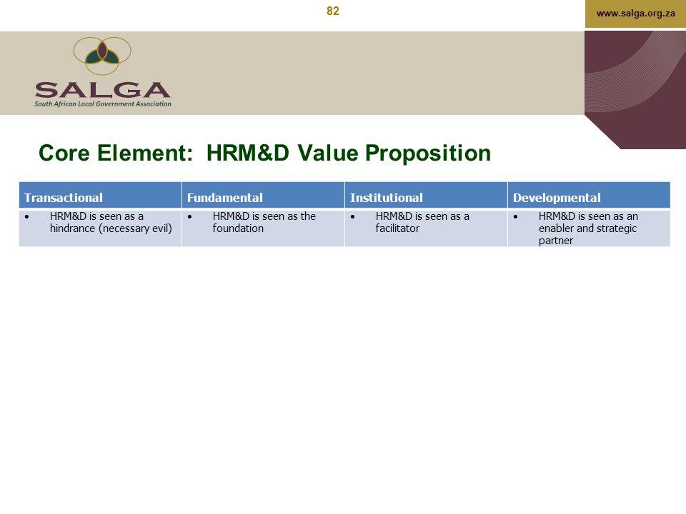 Core Element: HRM&D Value Proposition