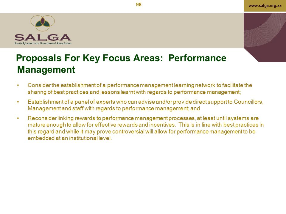 Proposals For Key Focus Areas: Performance Management