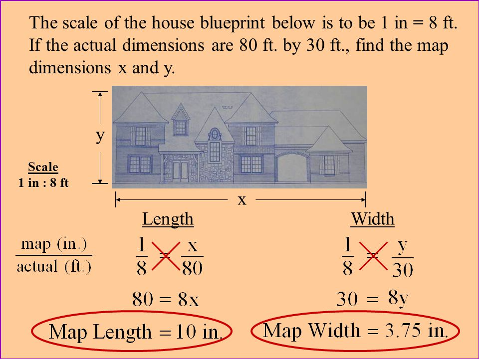 The scale of the house blueprint below is to be 1 in = 8 ft.