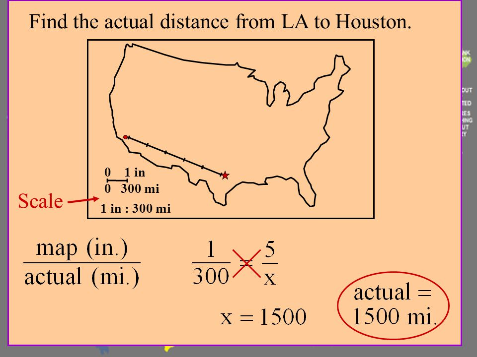 Find the actual distance from LA to Houston.