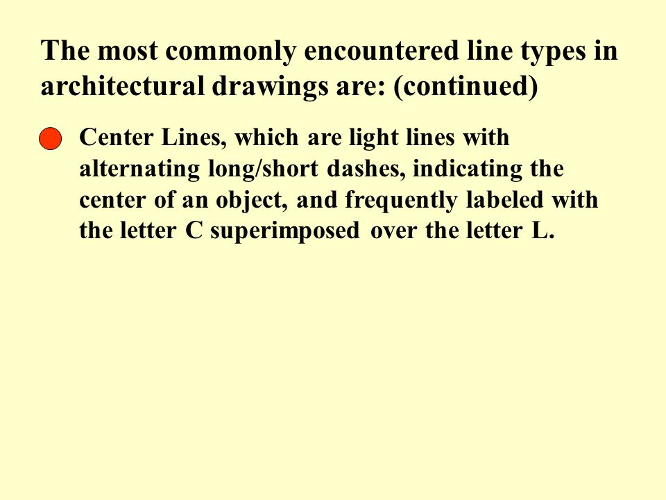 The most commonly encountered line types in architectural drawings are: (continued)