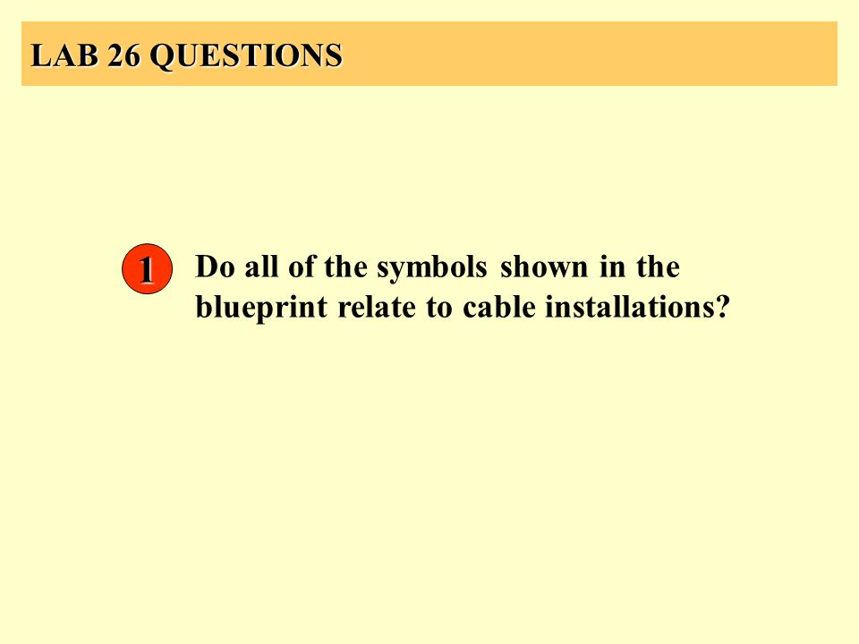 LAB 26 QUESTIONS 1 Do all of the symbols shown in the blueprint relate to cable installations