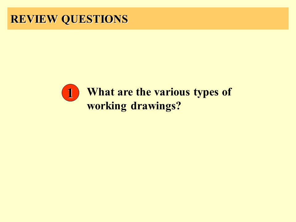 REVIEW QUESTIONS 1 What are the various types of working drawings