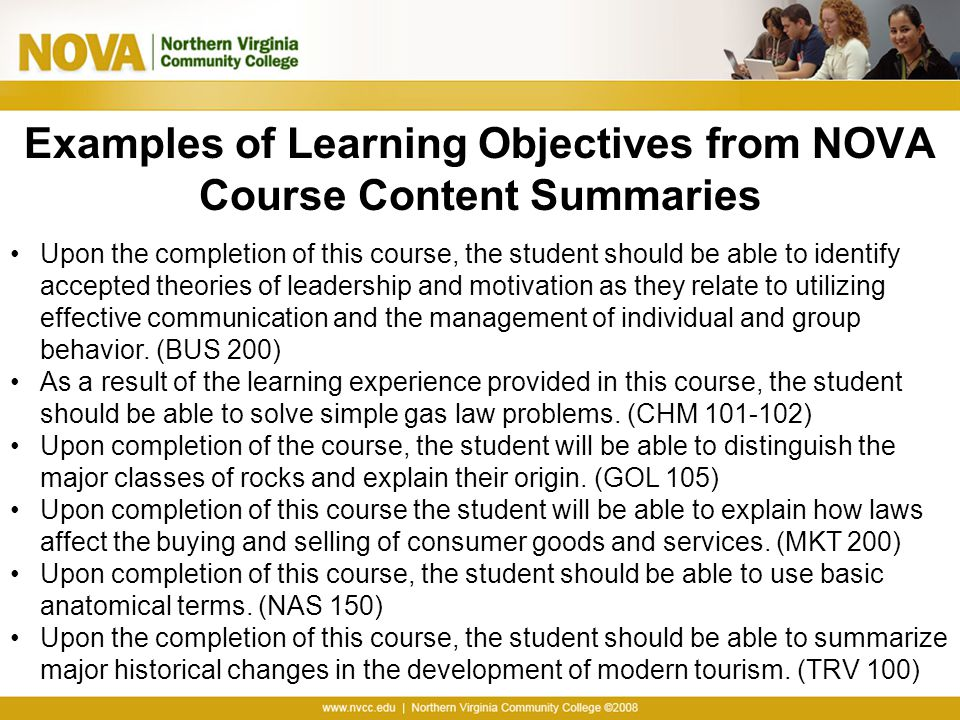 Examples of Learning Objectives from NOVA Course Content Summaries