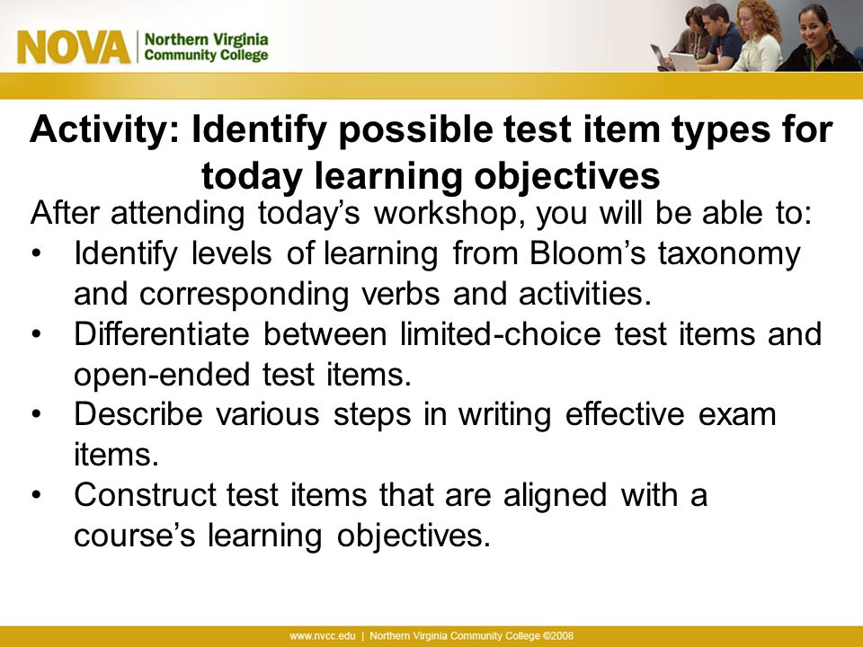 Activity: Identify possible test item types for today learning objectives
