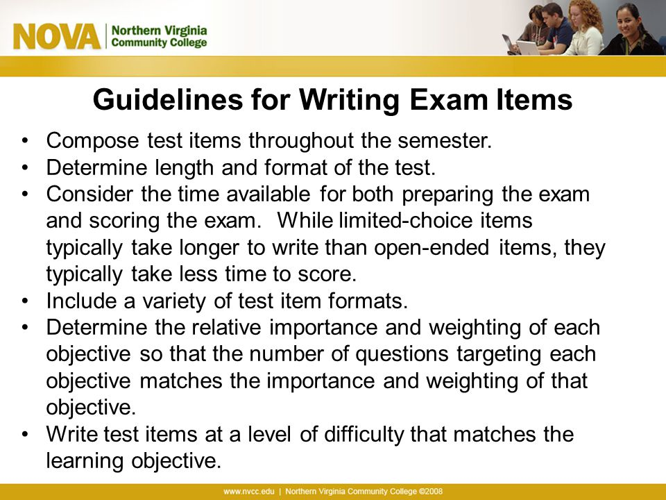Guidelines for Writing Exam Items