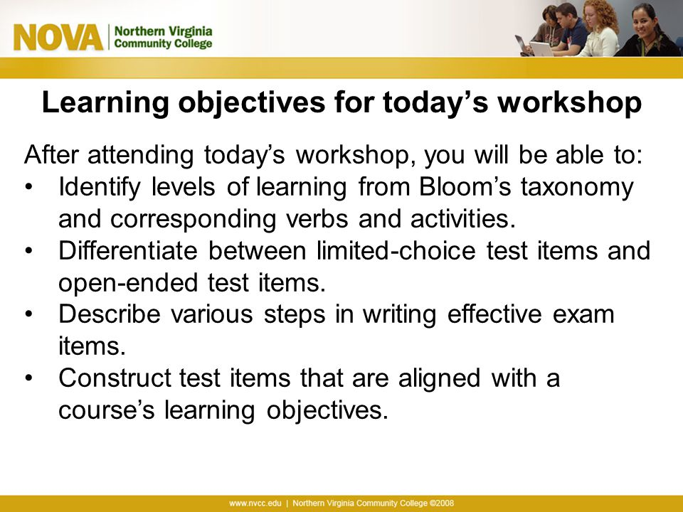 Learning objectives for today's workshop