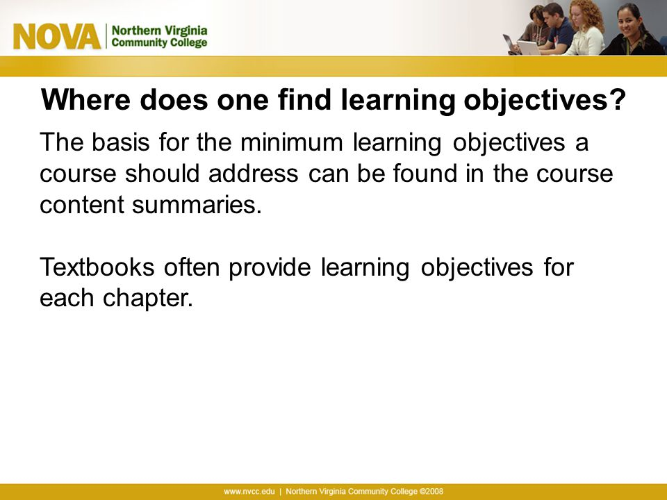 Where does one find learning objectives