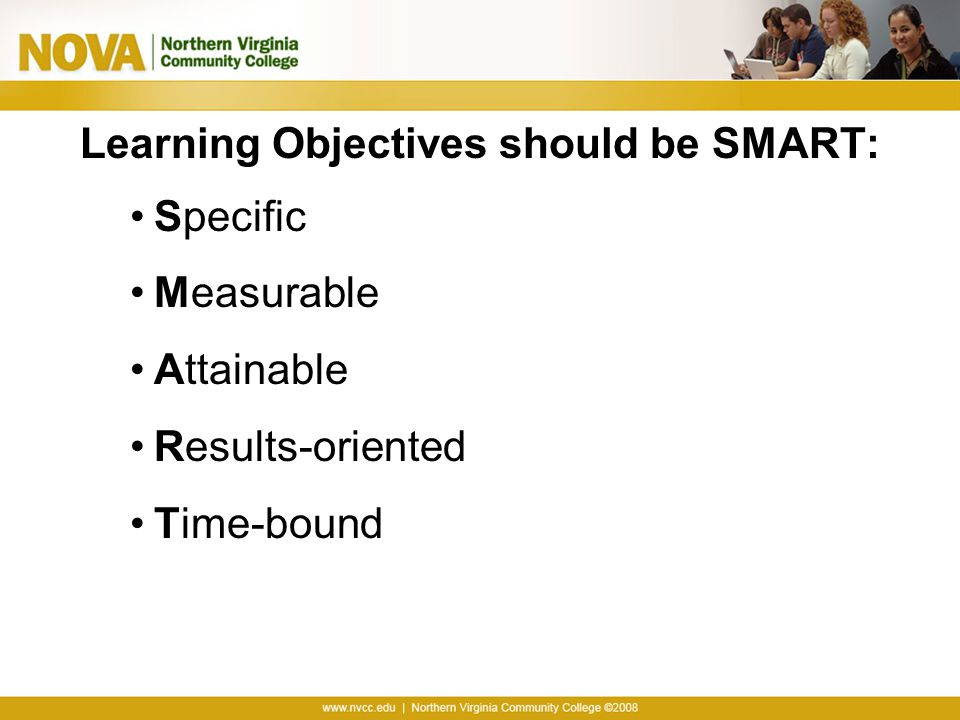 Learning Objectives should be SMART: