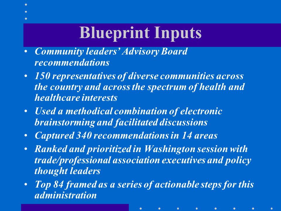 Blueprint Inputs Community leaders' Advisory Board recommendations