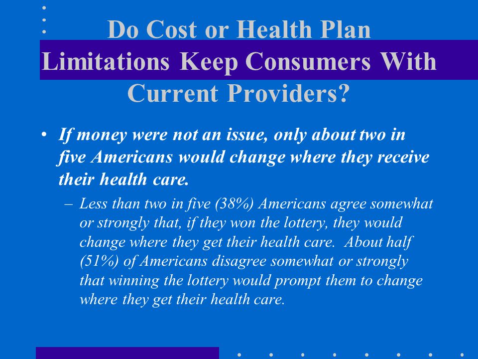 Do Cost or Health Plan Limitations Keep Consumers With Current Providers