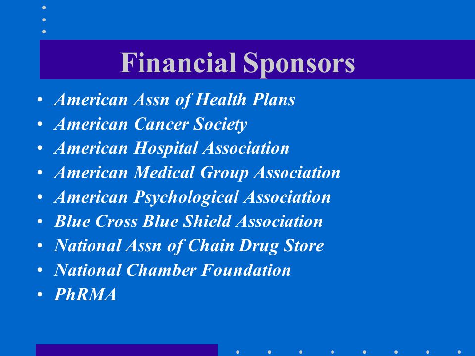 Financial Sponsors American Assn of Health Plans