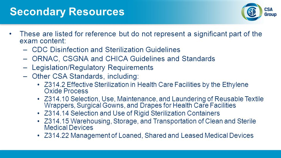 Secondary Resources These are listed for reference but do not represent a significant part of the exam content: