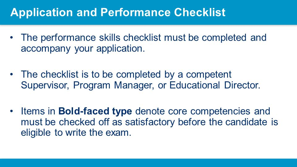 Application and Performance Checklist