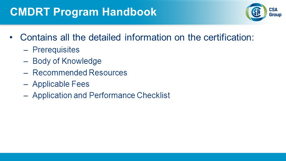 CMDRT Program Handbook