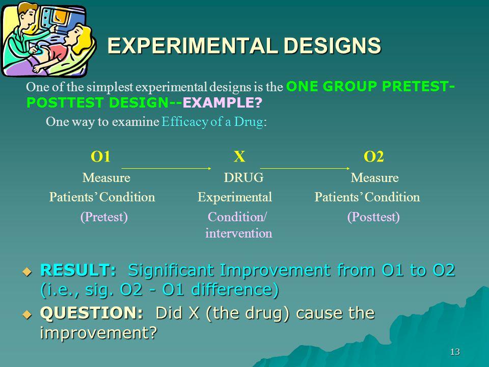 EXPERIMENTAL DESIGNS O1 X O2