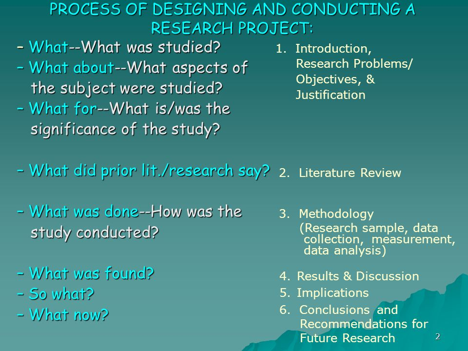 PROCESS OF DESIGNING AND CONDUCTING A RESEARCH PROJECT:
