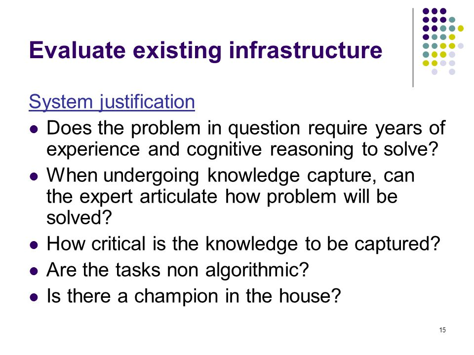 Evaluate existing infrastructure