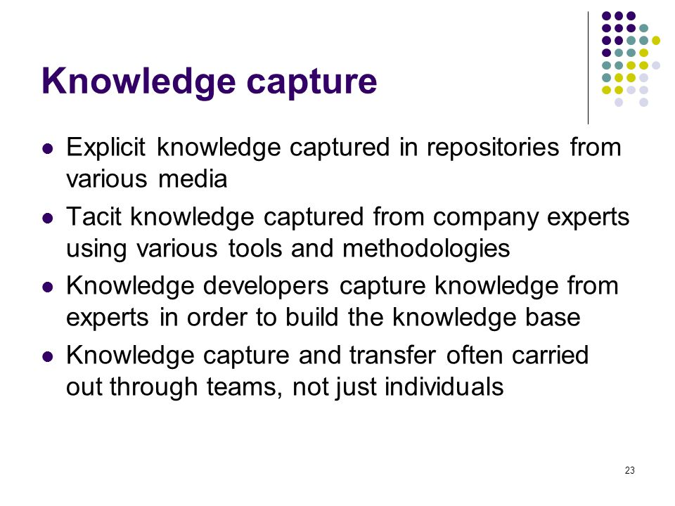 Knowledge capture Explicit knowledge captured in repositories from various media.