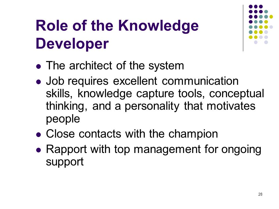 Role of the Knowledge Developer