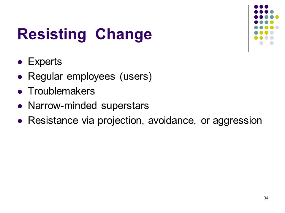 Resisting Change Experts Regular employees (users) Troublemakers