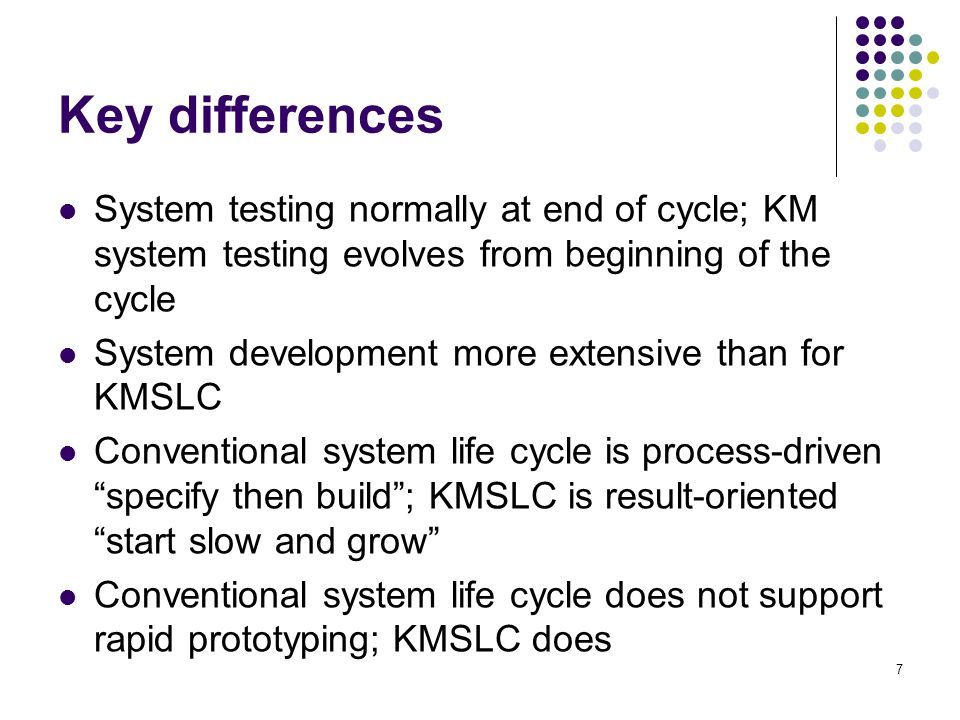 Key differences System testing normally at end of cycle; KM system testing evolves from beginning of the cycle.