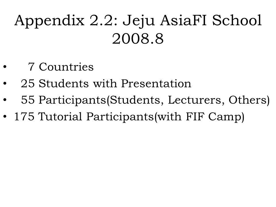 Appendix 2.2: Jeju AsiaFI School 2008.8